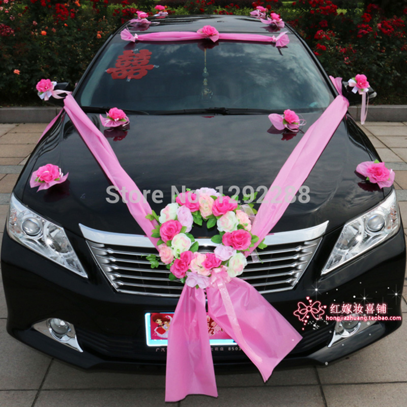 Flower Decoration Wedding: Fiori Bomboniere Wedding Car Flower Decoration Set Red