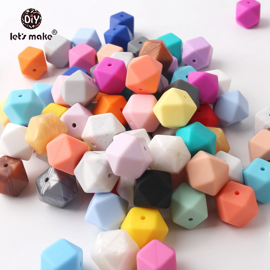 Let's Make Silicone Beads For Teether 20PC Large 17mm Geometric Hexagon DIY Teething Necklace  Bracelet Silicone Beads