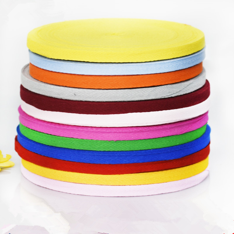 50 Meter1cm Colorful Cotton Herringbone Webbing Straps