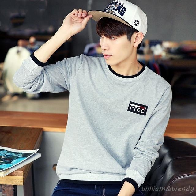 Men Korean Hip Hop Fashion Long Sleeve T Shirt Kpop ...