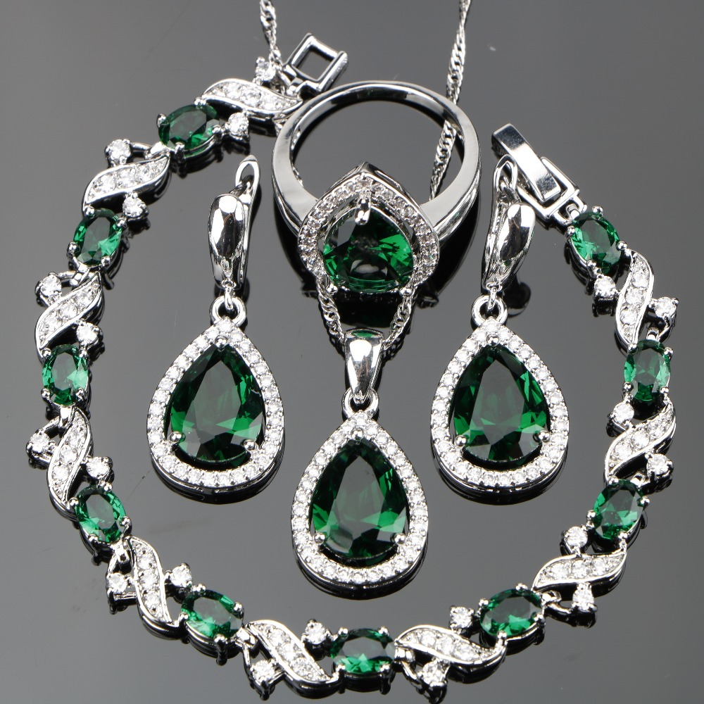 Nickle Silver 925 Green CZ...