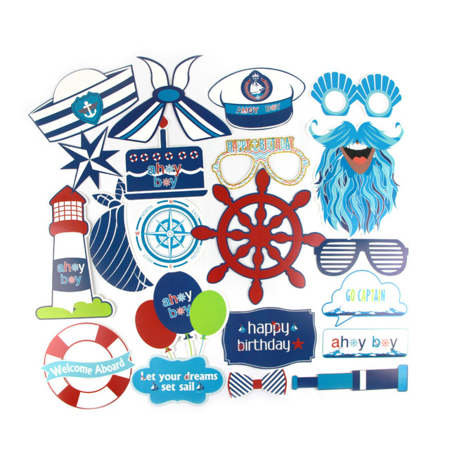 21pcs Nautical Photo Booth Props Baby Boy First Birthday Party Decor Ahoy Shower
