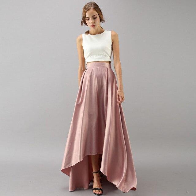 15d2c50b30 Elegante alto bajo Falda larga alta cintura satén Blush Rosa Falda larga  plisada una línea por encargo Formal del partido desgaste del baile