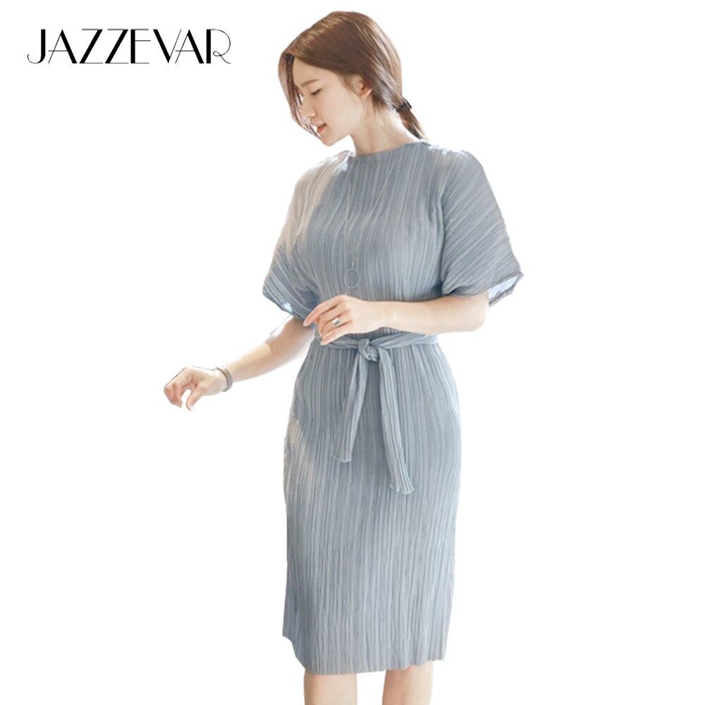 JAZZEVAR summer fashion Edgy casual dress women\'s pleated Midi ...