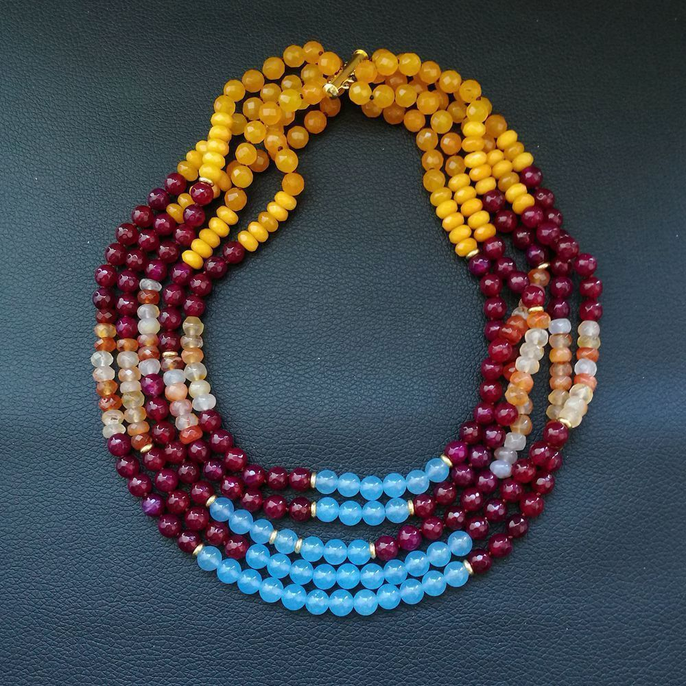 18 5 Strands Multi Color Gems Stone Necklace