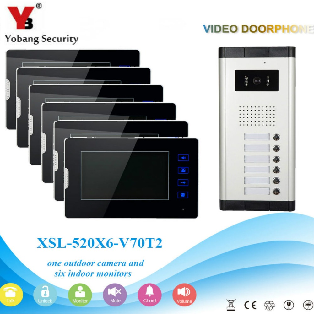 YobangSecurity 1-Camera 6-Monitor 7 Video Door Phone Video Intercom Home Doorbell System Night Vision 2-way Access Control new 7 inch color video door phone bell doorbell intercom camera monitor night vision home security access control