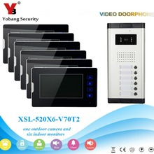 YobangSecurity 1-Camera 6-Monitor 7″ Video Door Phone Video Intercom Home Doorbell System Night Vision 2-way Access Control