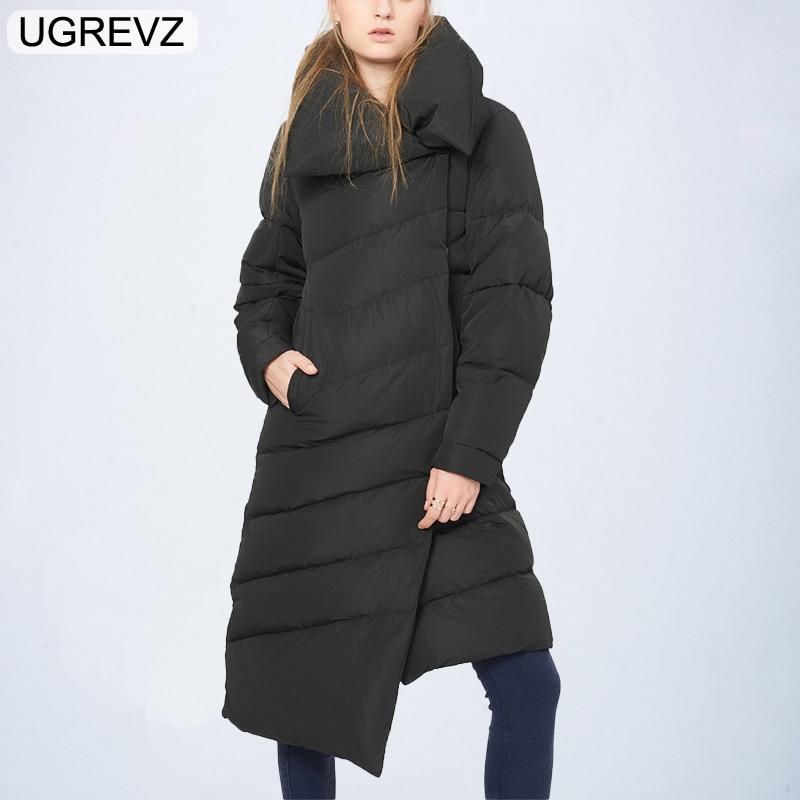 UGREVZ Female Coat Black Spring Winter 2018 New Long Sleeve Black Loose Big Size Irregular Solid Color Coat   Parka   Women Jackets