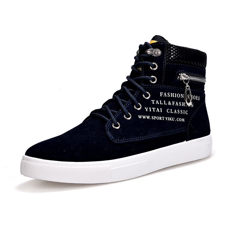 цена Hot 2018 Spring Autumn Korean Men's High-Top Shoes Students Zip Letters Casual Canvas Shoes Mens Wild Fashion Trendy Ankle Boots