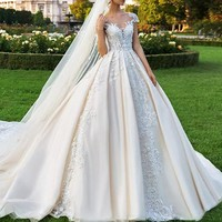 2018 Romantic Long Dress For Bridal Customized Lace Appliques Wedding Gowns V Neck A Line Cap Sleeves Formal Party Dresses