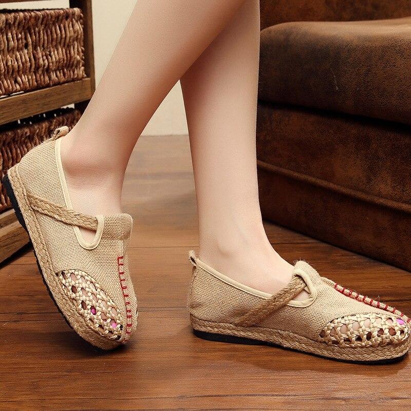 Creux Plat Talon Slip Sur Étudiant Casual Baleriny gris Lin Chaude Rayé Femmes 2018 or Sandales Gril Respirant Chaussures Clair 0Pqvvw