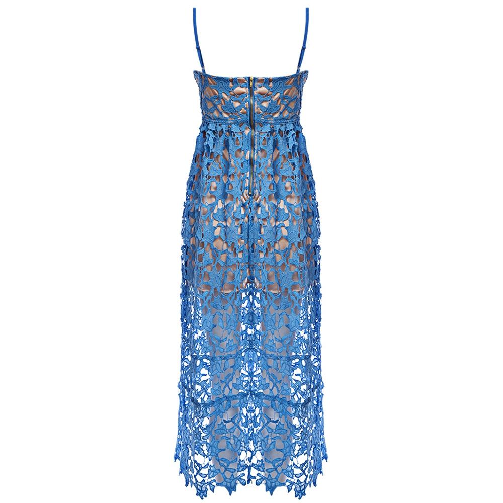 VESTLINDA Spaghetti Strap Backless Hollow Out Crochet Lace Dress Women Vestidos Mujer Robe Femme 2017 Summer Sexy Maxi Dress 3