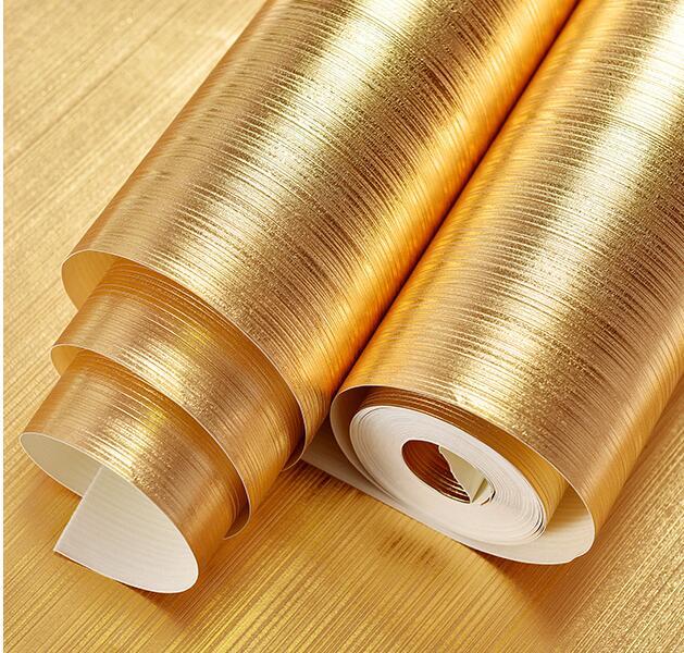 Rouleau de papier peint argent feuille d'or brillant brossé 10 m