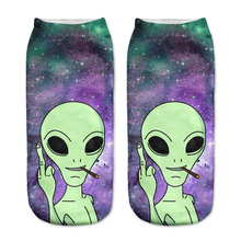 2017 New arrival Women Low Cut Ankle Socks Funny Aliens 3D Printing Sock Cotton Hosiery Printed Sock