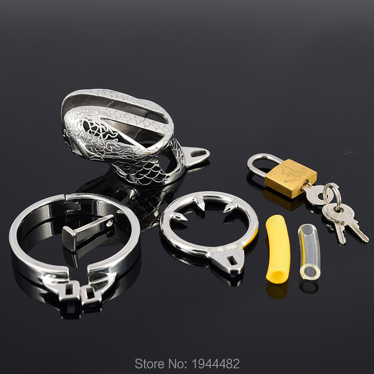 SODANDY Small Chastity Device Stainless Steel Cock Cage Metal Male Chastity Belt Penis Ring Bondage Sex Toys Dragon Totem Lock 8