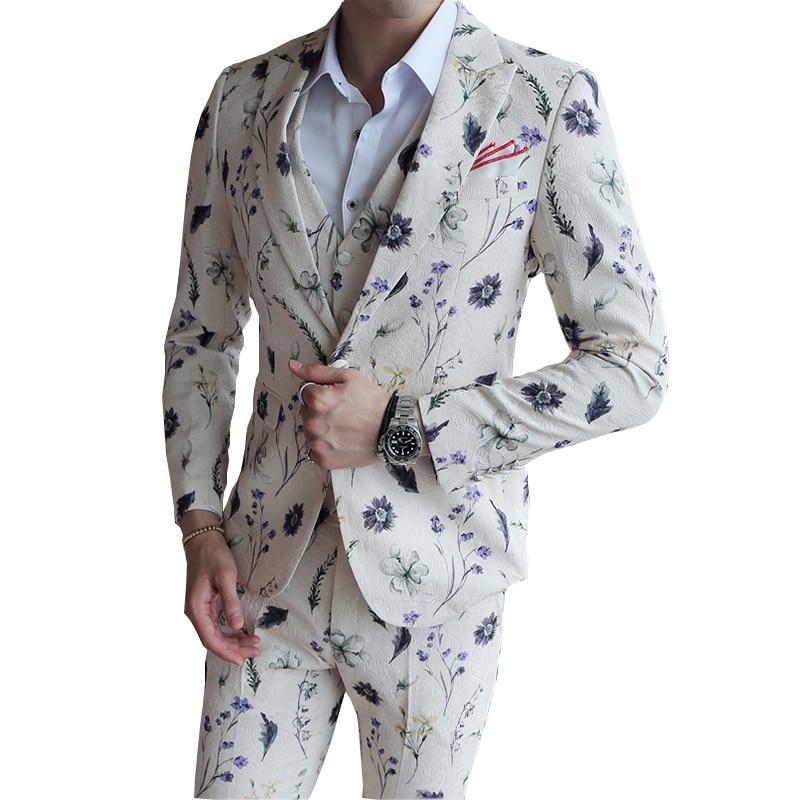 Floral Print Suits Men 2019 3 Pcs Party Wedding Dress Suits Costume Homme Groom Suit Terno Slim Fit Masculino Blazers Pants Vest