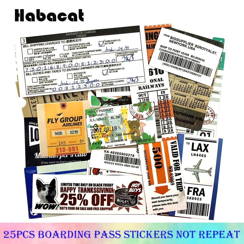 25 Pcs/Pack carte d'embarquement Graffiti autocollants billet d'avion pour bagages Skateboard ordinateur portable moto jouet Pegatinas