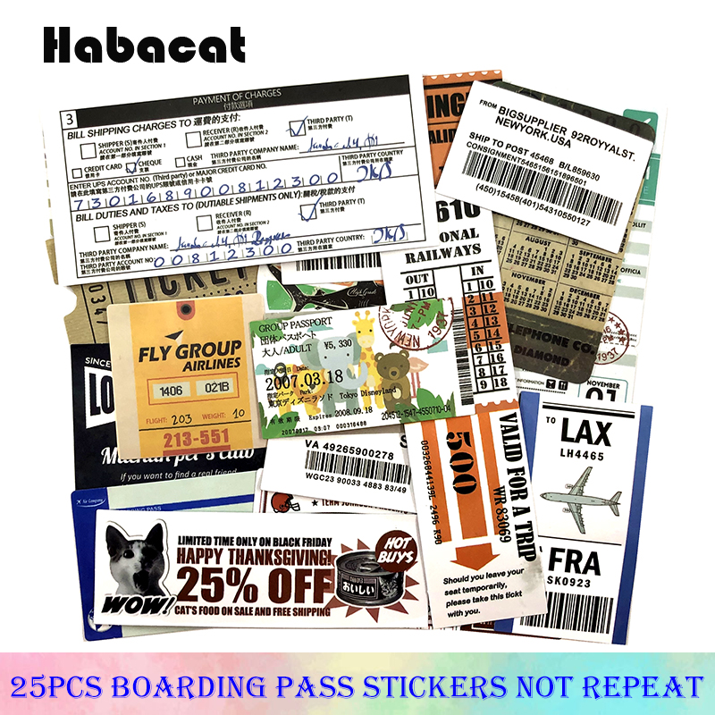 25Pcs/Pack Boarding Pass Graffiti Stickers Plane Ticket For Luggage Skateboard Laptop Motorcycle Toy Pegatinas