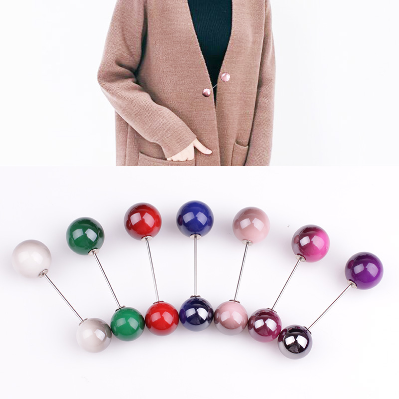 1pcs Fashion Gradient Color Pearl Straight Pin For Clothes Brooch,double Head Pearl Sweater Buttons Pins,cardigan Decoration Pin