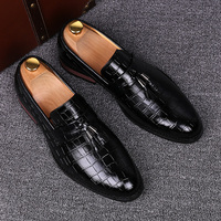 England Casual Mens Party Nightclub Breathable Soft Leather Bullock Shoes Tassel Slip On Oxfords Shoe Gentleman