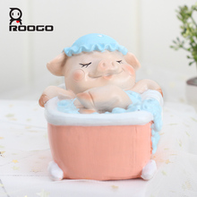 ROOGO home decoration accessories for living room pig figurine statue leisurely cute pig resin ornament home desk decorations roogo sweet wedding home decoration accessories resin bridegroom and bride figurine gift for couple family desktop ornament