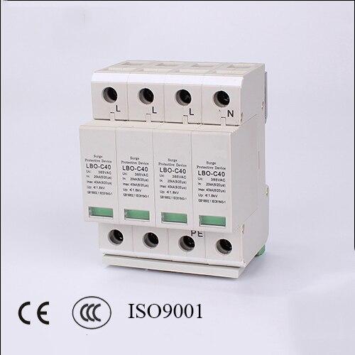 Arrester Device LBO 4P 20KA~40KA C ~385VAC House Surge Protector protection Protective Low voltage