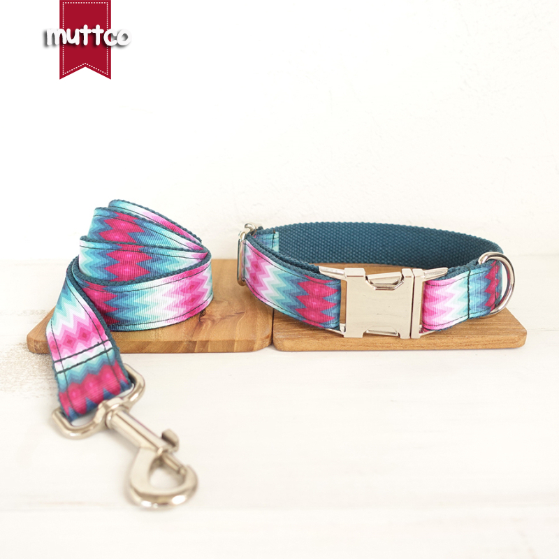MUTTCO retailing cool self-designed nylon dog accessories THE GREEN PEACOCK print dog collars and leashes sets 5 sizes UDC010