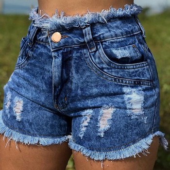 New Summer Explosion Women's Hole Denim Shorts Women's Fashion Pocket Jeans Women's High Waist Sexy Shorts spodenki damskie 40* Women's Bottoms