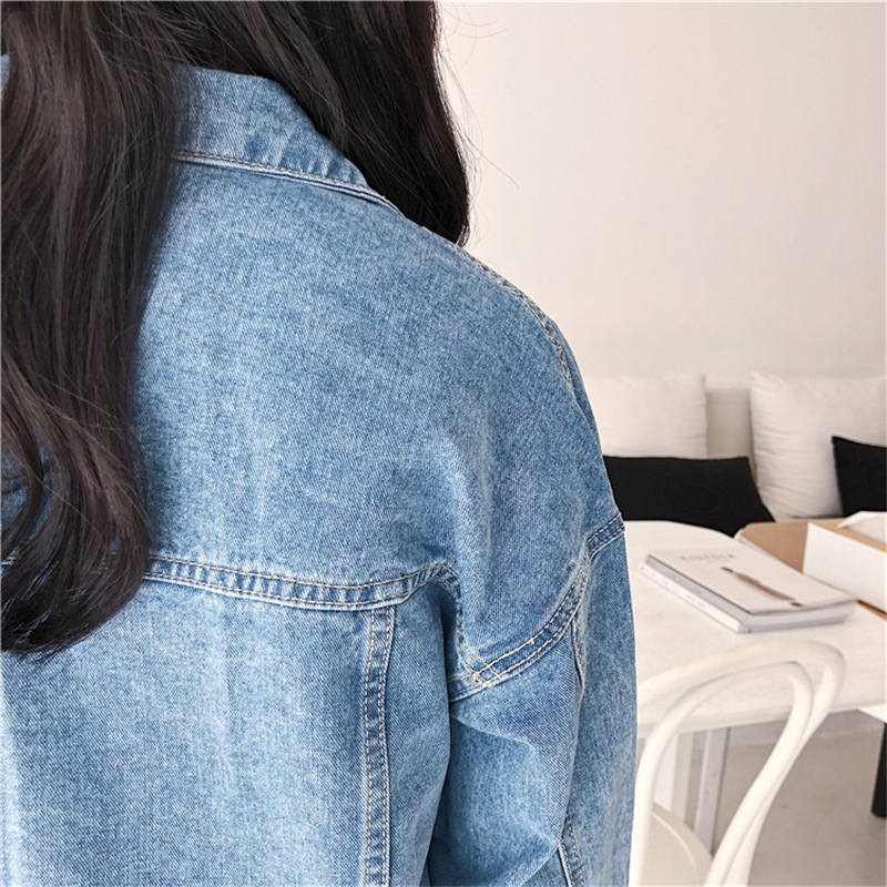 RUGOD Solid Turn-down Collar Jean Jacket for Women Loose Casual Blue Fashionable Women Coats Female outwear Denim Feminine 9