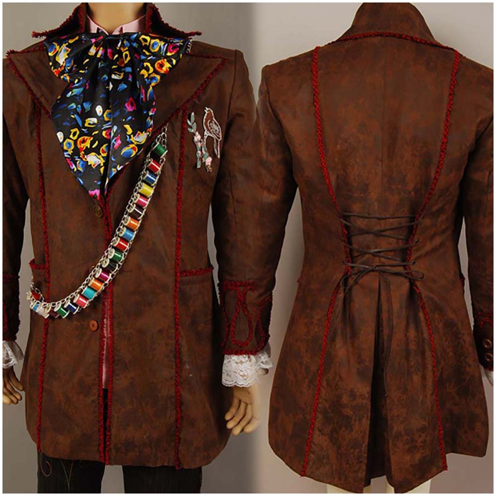 Alice in Wonderland Johnny Depp Mad Hatter Men Jacket Outfit Coat Jacket Movie Halloween Cosplay Costume Free Shipping