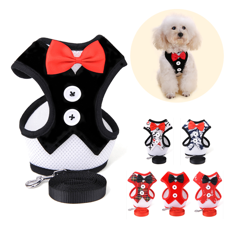 Mesh Small Dog Harness Nylon Breathable Puppy Dog Harness Vest Pet Walking Harnesses Vest And Leash Set For Chihuahua Small Dogs