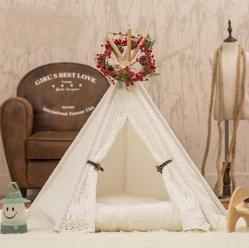 Fashion Hot sale Pet <font><b>tents</b></font> kennel dog house cat nest removable canvas fabric wooden pet nest pet pad SE15