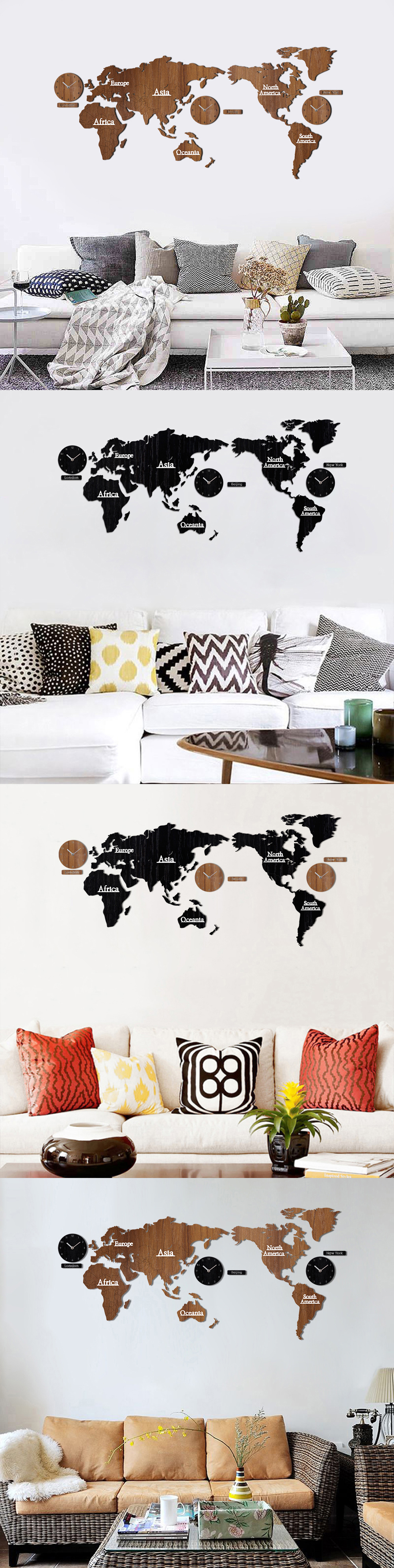 Creative world map wall clock wooden large wood watch wall clock 2 gumiabroncs Images