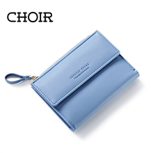 CHOIR Women Leather Zipper Wallet Fashion Lady Portable Multifunction Short Solid Color Change Purse Hot Female Clutch Carteras