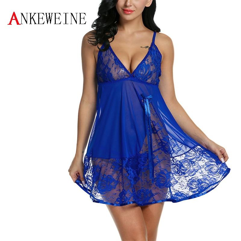 Женские сексуальное платье с глубоким v-образным вырезом белье пижамы Кружево Babydoll Нижнее Бельё для девочек Ночное одеяние