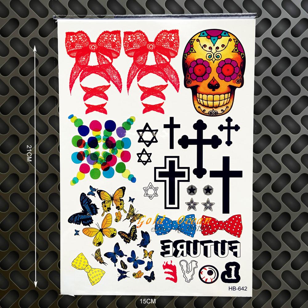 Henna schädel wasserdicht transfer tattoo quer schmetterling gefälschten flash tattoo sticker bogen bowknot designs kinder körper