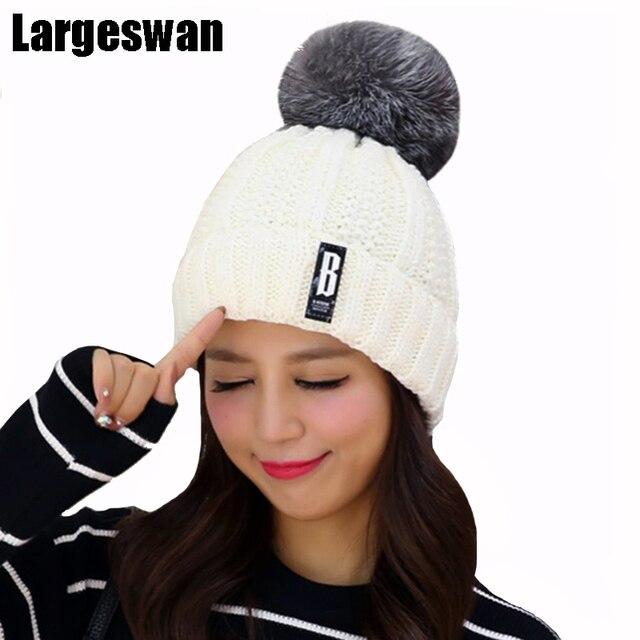 Largeswan Новый Личность шляпы для женщин зимняя шапка шапочки шапка для девочки пом Англичане Skullies густой слой меха Вязаная Шапка толстые женские Крышка