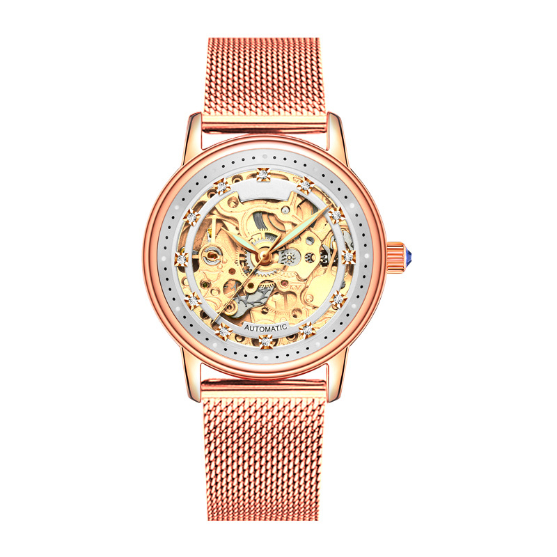 SOLLEN Brand Fashion Luxury Women Watches Lady Watch Gold Automatic Mechanical Wrist Watch Leather Ladies Watches Gifts Present Women's Watches     -