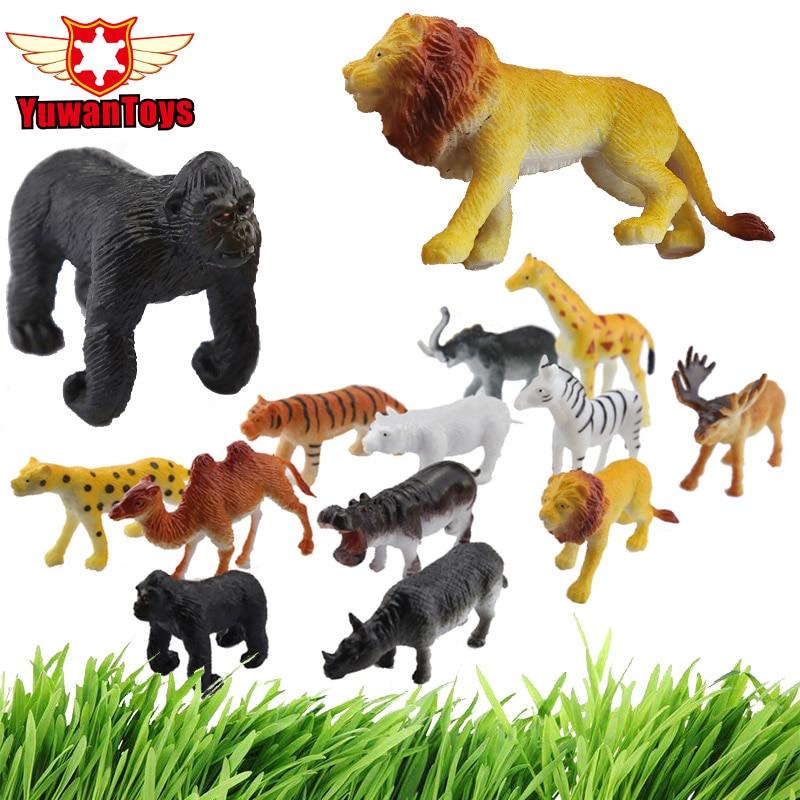 Plastic Toy Figurine Miniature Jungle-Wildlife Wild Animal Cartoon Cheap Model-Set