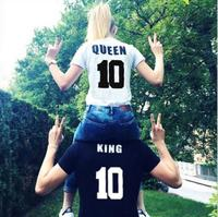 2016 Street Style King Queen 10 Letter Print Funny Couple T Shirt Summer Male And Female