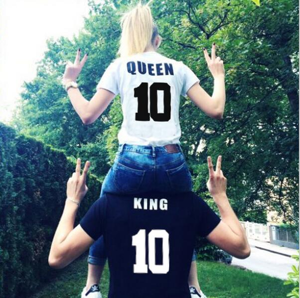 eb26d813bdf806 2018 Street Style King Queen 10 Letter Print Funny Couple T-shirt Summer  Male And Female Shirt Graphic Tees Women Men Tops