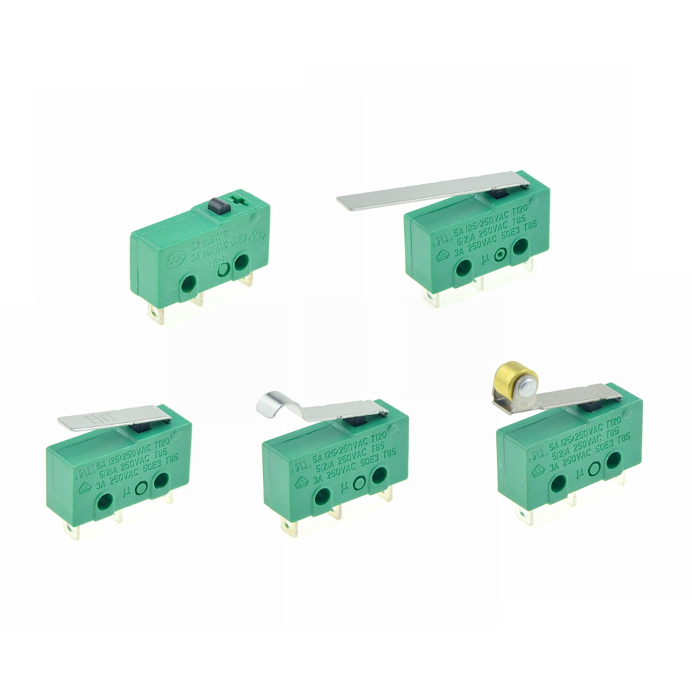 1PC Micro Limit Switches 3Pins NO+NC SPDT 3A/5A 250VAC Mini Micro Switch 17mm 29mm Long Arc Roller Lever Switch Microswitches