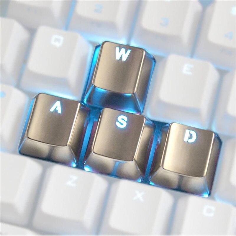 4pcs Zinc Alloy Keycaps Switch Light Transmission for Mechanical Keyboard MX Axis Silver Metal Key Cap Transparent Keypress WASD