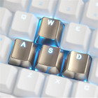 4pcs Zinc Alloy Keycaps Switch Light Transmission for Mechanical Keyboard MX Axis Silver Metal Key Cap Transparent Keypress WASD