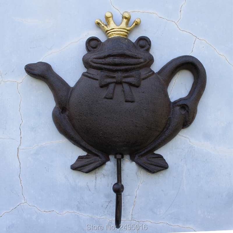 Garden Frog prince Wall Hangers Cast Iron Antique Finish for Coats, Aprons, Hats, Towels, Pot Holders, More