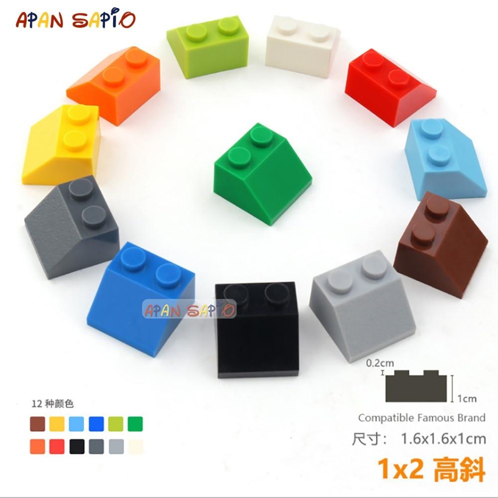 20pcs/lot DIY Blocks Building Bricks Bevel 1X2 Educational Assemblage Construction Toys For Children Size Compatible With Lego