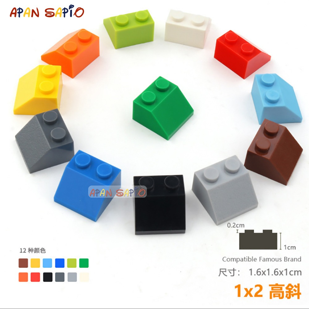 DIY Blocks Building Bricks Bevel 1X2 20pcs/lot Educational Assemblage Construction Toys For Children Compatible With Brands
