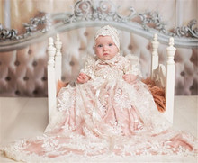 New Baby Girls Christening Gown Baptism Dress Infant Toddler Long Ivory Lace Applique Blush Heirloom Gown set with Headpiece new arrival white ivory satin silk lace baby girl christening gowns newborn formal baptism robe long dress with bonnet