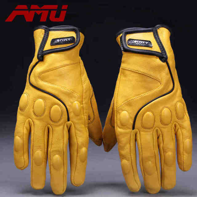 Guantes AMU Motorcycle gloves Glove real Leather baseball gloves Motorbike Electric bicycle Electrombile Mitts motorcycle Gloves