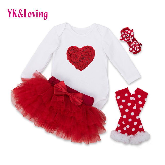 Baby Clothing Sets Long Sleeve Romper Tutu Saia Skirt Set Kids Babys  Fashion Girls Princess Clothes Set Valentines